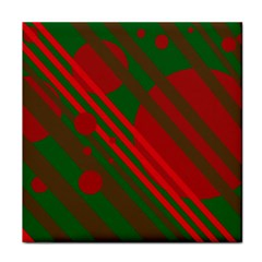 Red and green abstract design Tile Coasters