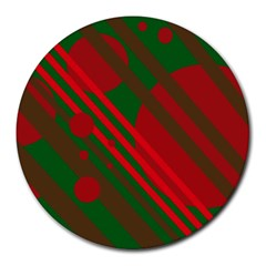 Red and green abstract design Round Mousepads