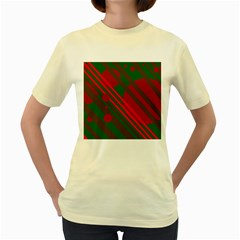 Red and green abstract design Women s Yellow T-Shirt
