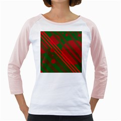 Red and green abstract design Girly Raglans