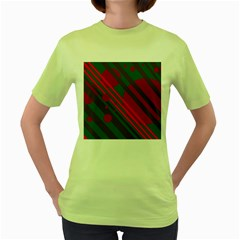 Red and green abstract design Women s Green T-Shirt