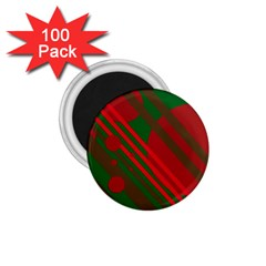 Red and green abstract design 1.75  Magnets (100 pack)