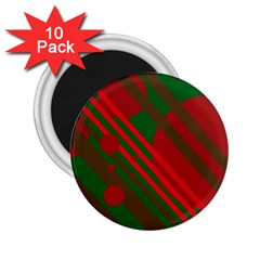 Red and green abstract design 2.25  Magnets (10 pack)
