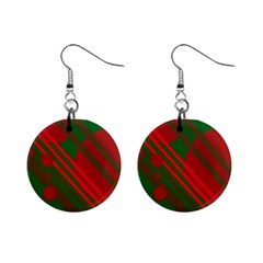 Red and green abstract design Mini Button Earrings
