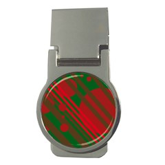 Red and green abstract design Money Clips (Round)