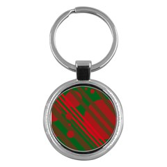 Red and green abstract design Key Chains (Round)