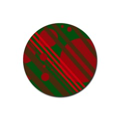 Red and green abstract design Rubber Coaster (Round)
