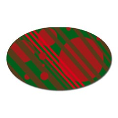 Red and green abstract design Oval Magnet
