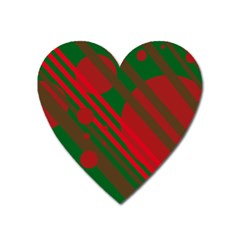 Red and green abstract design Heart Magnet