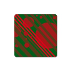 Red and green abstract design Square Magnet