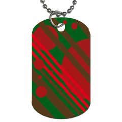 Red and green abstract design Dog Tag (One Side)