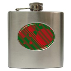 Red and green abstract design Hip Flask (6 oz)