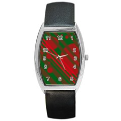 Red and green abstract design Barrel Style Metal Watch