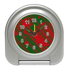 Red and green abstract design Travel Alarm Clocks