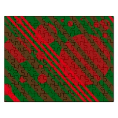 Red and green abstract design Rectangular Jigsaw Puzzl