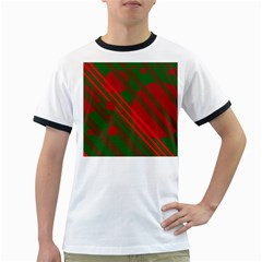 Red and green abstract design Ringer T-Shirts