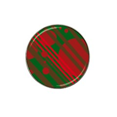 Red and green abstract design Hat Clip Ball Marker
