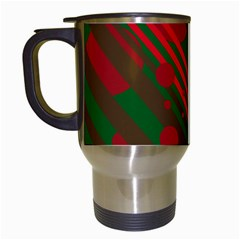 Red and green abstract design Travel Mugs (White)
