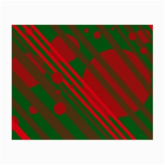 Red and green abstract design Small Glasses Cloth