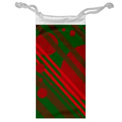 Red and green abstract design Jewelry Bags