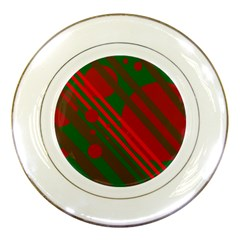 Red and green abstract design Porcelain Plates