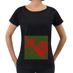 Red and green abstract design Women s Loose-Fit T-Shirt (Black)