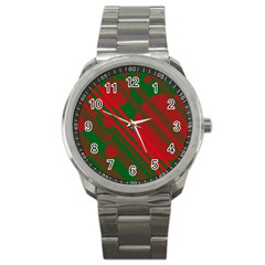 Red and green abstract design Sport Metal Watch