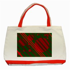 Red and green abstract design Classic Tote Bag (Red)