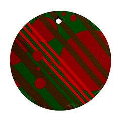 Red and green abstract design Round Ornament (Two Sides)