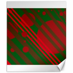 Red and green abstract design Canvas 8  x 10