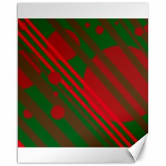 Red and green abstract design Canvas 16  x 20