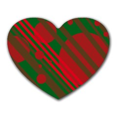 Red and green abstract design Heart Mousepads
