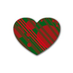 Red and green abstract design Heart Coaster (4 pack)