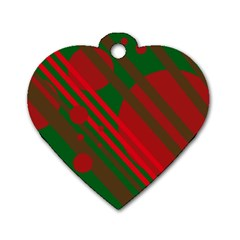 Red and green abstract design Dog Tag Heart (One Side)