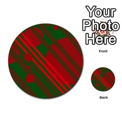 Red and green abstract design Multi-purpose Cards (Round)
