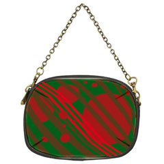 Red and green abstract design Chain Purses (Two Sides)