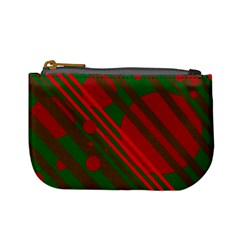 Red and green abstract design Mini Coin Purses