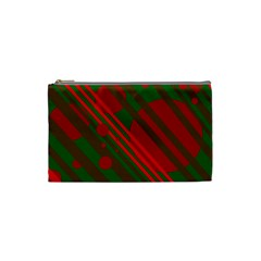 Red and green abstract design Cosmetic Bag (Small)