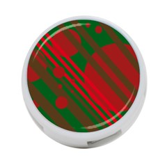 Red and green abstract design 4-Port USB Hub (One Side)