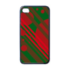 Red and green abstract design Apple iPhone 4 Case (Black)