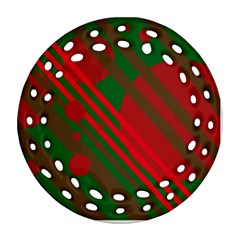 Red and green abstract design Round Filigree Ornament (2Side)