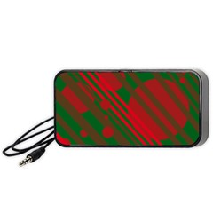Red and green abstract design Portable Speaker (Black)