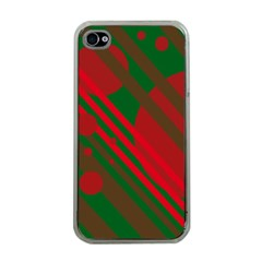 Red and green abstract design Apple iPhone 4 Case (Clear)