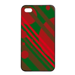 Red and green abstract design Apple iPhone 4/4s Seamless Case (Black)