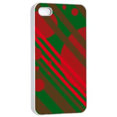 Red and green abstract design Apple iPhone 4/4s Seamless Case (White)