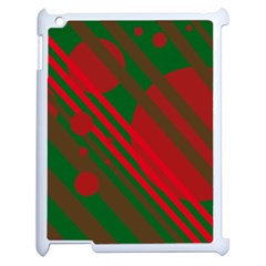 Red and green abstract design Apple iPad 2 Case (White)