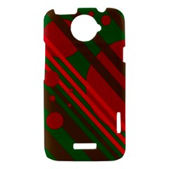 Red and green abstract design HTC One X Hardshell Case