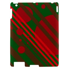 Red and green abstract design Apple iPad 2 Hardshell Case