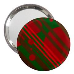 Red and green abstract design 3  Handbag Mirrors