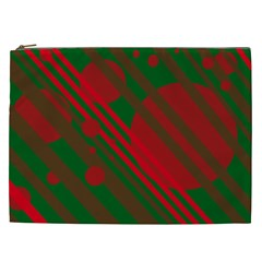 Red and green abstract design Cosmetic Bag (XXL)